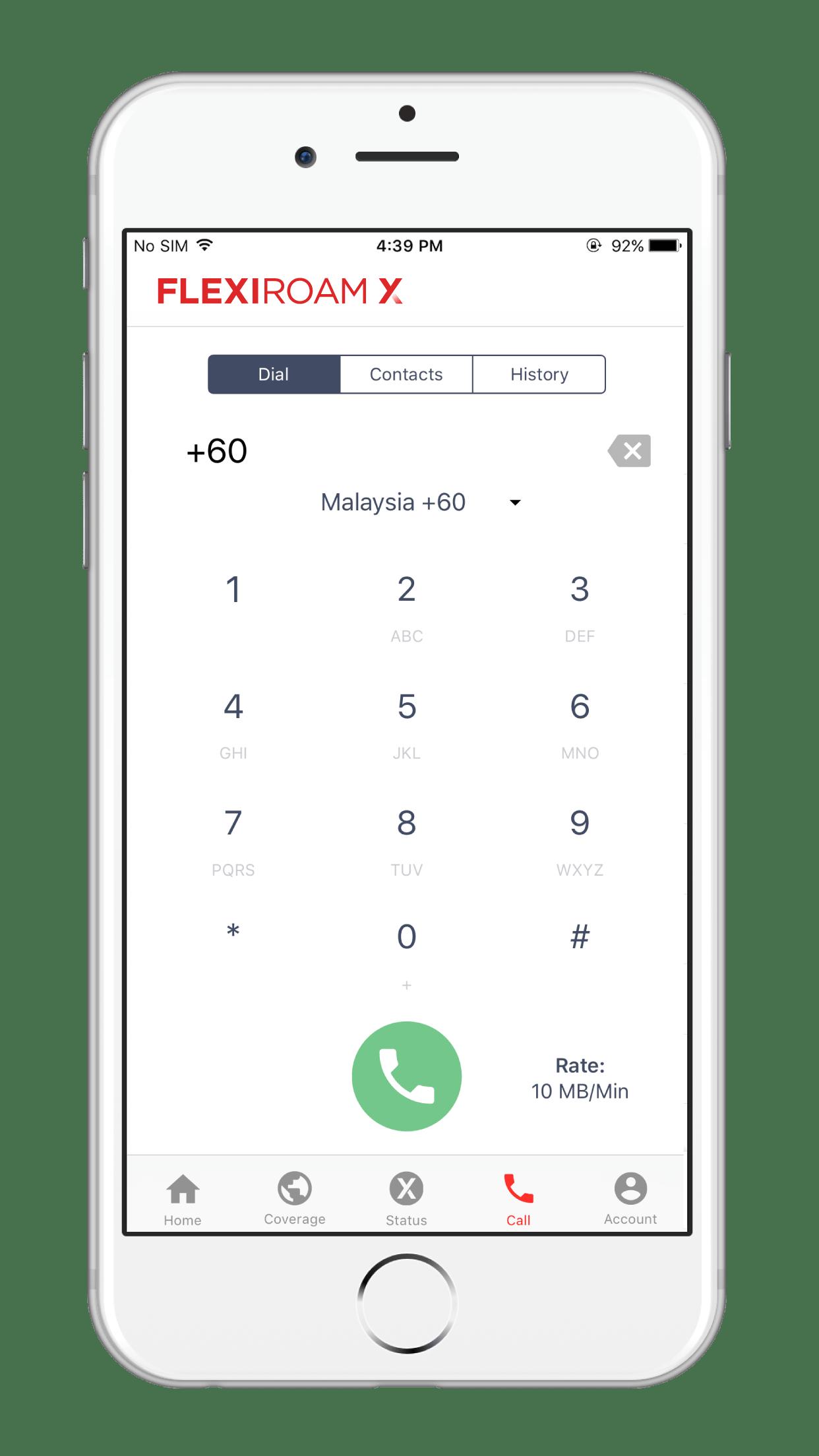 Flexiroam X - Call Screen